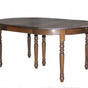 table ronde en chene massif avec une allonge
