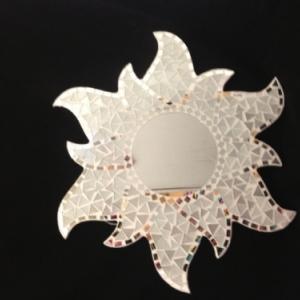 miroir mosaique blanc