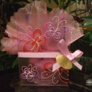 Bougeoir rect en verre avec papillon