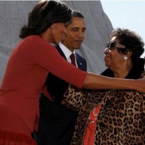 Le trio Aretha et le couple Obama