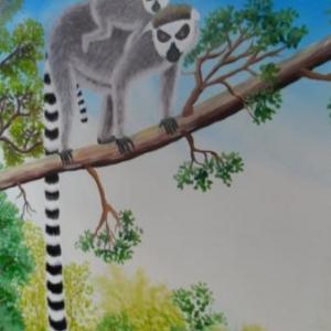 Lemurien, peinture sur lin