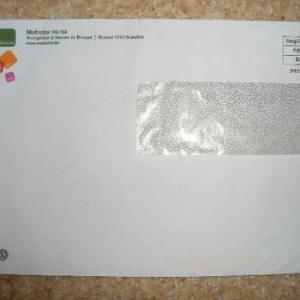 On ne peut entrer une pareille enveloppe (15cm de largeur; l'ouverture en fait 14. Moins l'obstacle de la volute)