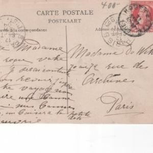 1909. Destinataire: Paris. Cachet de la poste: Houffalize.