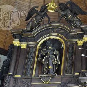 Le dessus de l'autel de Houffalize: saint Roch, la Vierge, saint Sebastien. Trois oeuvres de Pecourt. Ph. JM Lesage