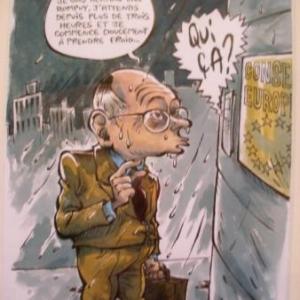 """Au parlophone de la porte du Conseil de l'Europe: """"Excusez-moi, Monsieur, je suis Herman Van Rompuy..."""""""
