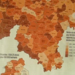 Carte du nombre de deces (rapportes a la population standard). Pardon, meilleure image demain.