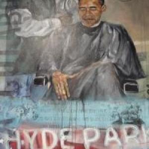 """Dans le """"vrai"""" salon d'Obama a Chicago, Illinois, une peinture qui semble renvoyer au plafond de Maxime (RFI / Stefanie Schuler)"""