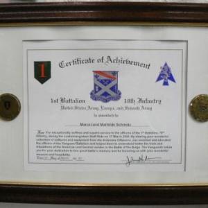 Certificat decerne a Marcel Schmetz
