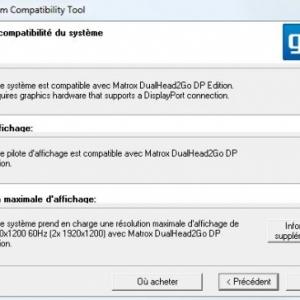 Test logiciel de la solution Matrox DualHead 2Go Display Port