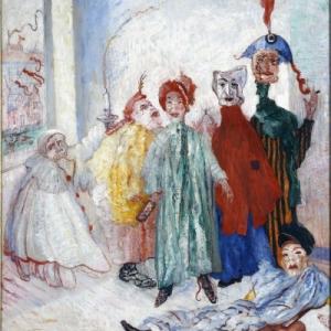 James ENSOR (1860 -1949) *Zonderlinge maskers, 1892, Olieverf op doek, 100 x 80 cm, Brussel MRBAB