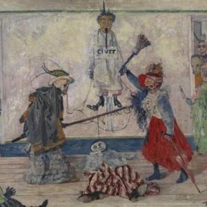 James Ensor Geraamten twistend om een gehangene, 1891, doek/paneel 59 x 74 ©