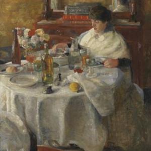 James Ensor De oestereetster, 1882, doek 207 x 105 ©
