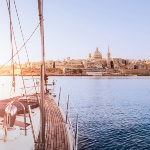 View of Valletta from yacht in grand harbour