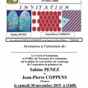 Expositions des artistes Jean-Pierre Coppens et Sabine Penez à l'office de Tourisme de Cerfontaine