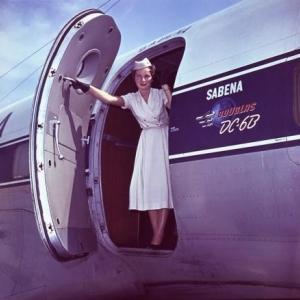 Airhostess, Sabena, 1958.