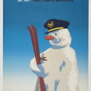 Affiche 'Sabena Belgische luchtlijnen brengt u naar de wintersporten', 1951