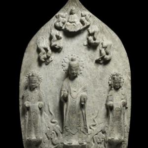 Stèle votive avec une triade bouddhique,  © MNAAG, Paris, Dist. RMN-Grand Palais /Thierry Ollivier
