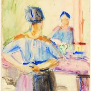 Vrouw voor de spiegel, 1915, Aquarel op papier, 49.7 x 65.2 cm
