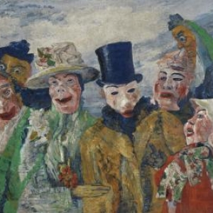 James Ensor De intrige, 1890, doek 90 x 150 ©