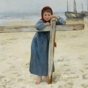 meisje op het strand, Jean Verhas, Estelle Slegers