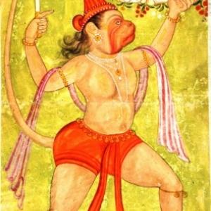 Hanuman draagt de Dron-berg met Sanjivini-kruiden, Raghogarh-stijl, Centraal-India, einde 18de eeuw