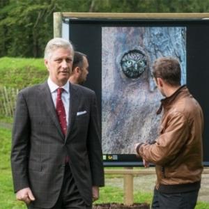 """Citadelle : Le 10/10, le Roi Philippe devant une oeuvre presentee par """"AgriNature"""" (c) Florent Marot/""""EdA"""""""