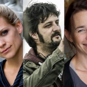 """Duelles"" : Veerle Baetens et Anne Coessens, encadrant le Realisateur, Olivier Masset-Depasse"