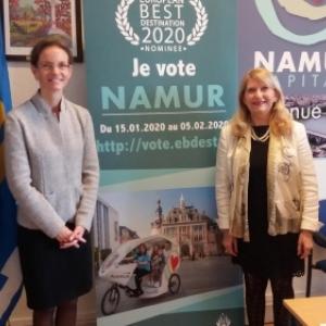 """Anne Barzin, Echevine du Tourisme et Anne-Marie Salembier, Presidente du C.A. de l """"Office de Tourisme"""""""