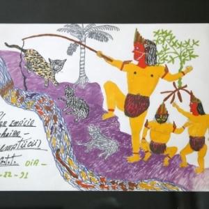 """Yoi repeche le peuple Maguta"" (1991), dessin de Pedro Inacio Pinheiro Ngematucu"