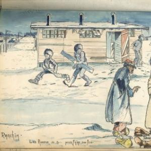 """""""Les Russes"""" courant devant les Latrines et un Soldat francais achetant les Bottes d un Cosaque"""