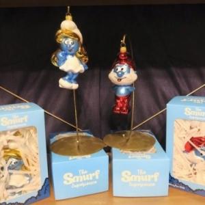 """""""Schtroumpfette"""" et """"Grand Schtroumpf"""", en boules de Noel polonaises"""
