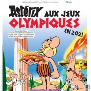 """La """"Une"""" du mercredi 25 mars du bien connu quotidien sportif francais (c) """"L Equipe""""/Albert Uderzo"""