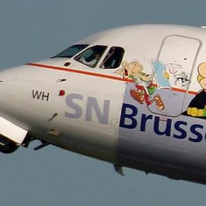 """L avion decore de (c) """"Brussels Airlines""""/Albert Uderzo/Photo : Serge Van Heertum, 2005"""