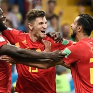 "Nacer Chadli, Romelu Lukaku & Thomas Meunier (c) Filippo Monteforte /""AFP"""