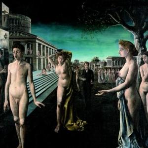 """""""L Aube sur la Ville"""" (Paul Delvaux/1940/175 x 202) (c) """"Foundation Paul Delvaux"""" / """"SABAM Belgium 2019"""""""