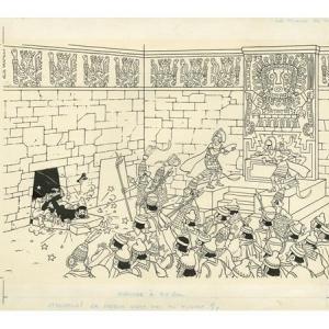"Encre de chine du ""Temple du Soleil""/1970 (c) ""Herge-Moulinsart"" 2020/""Huberty & Breyne Gallery"""