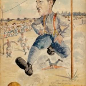 Caricature de l Abbe Drapier, jouant au Football