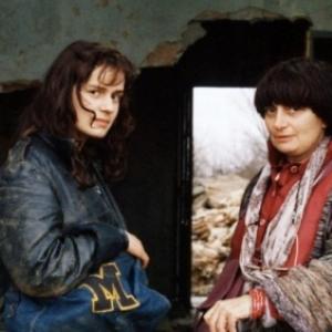 """Sandrinne Bonnaire et Agnes Varda, sur le tournage de """"Sans Toit ni Loi"""" (c) """"Cine Tamaris"""""""