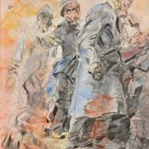 """""""Lanceurs de Grenade"""" (1914/pierre noire et aquarelle sur papier/60 x 46 cm/collection privee"""