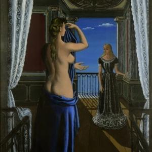 """""""Le Balcon"""" (huile sur toile/120,6 x 90,2 cm) (c) Paul Delvaux/""""Galerie Stern Pissaro"""""""