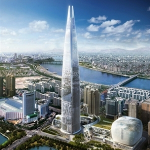 "La ""Lotte Super Tower"" (123 etages/555 m) domine Seoul"