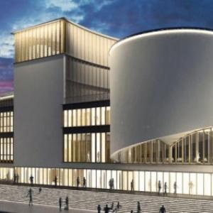 """""""Le Delta"""", avec, a l avant plan, un nouvel edifice, incluant une salle circulaire, nommee """"Tambour"""""""