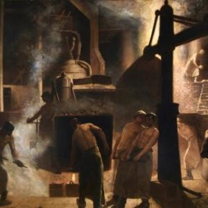 """""""La Coulee a Seraing"""" (vers 1880) (c) Constantin Meunier (c) Ville de Liege"""