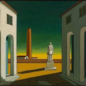 """""""Place d Italie, avec Statue"""" (Giorgio de Chirico/1965-1970/40x 41,50 cm) (c) """"SABAM Belgium 2019"""""""
