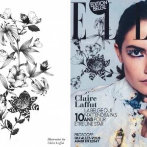 """Claire Laffut en couverture, avec un de ses dessins (c) Decembre 2013 """"Elle Belgique"""""""