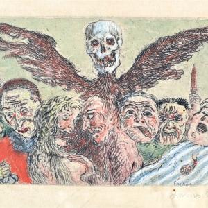 """Les Peches capitaux domines par la Mort"""" /James Ensor/1904/(c) Province de Namur"""
