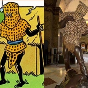 "Extrait 1ere Case/p. 31-version en couleurs/p.54-versions N/B et colorisee (c) Herge-Moulinsart 2019 et ancienne presentation, a Tervuren (c) ""Africa Museum"""