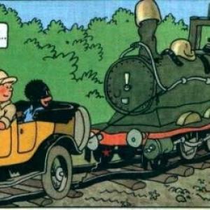 """""""Tintin au Congo"""" : Une """"Ford T"""" de tinte vive, couleur girafe/2eme case/p. 21/version en couleurs (c) Herge-Moulinsart 2019"""