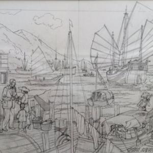 """Crayonne pour """"Menace sur Hong-Kong"""" (c) Teun Berserik et Peter van Dongen/""""Dargaud"""""""