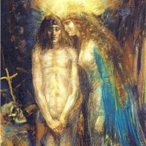 """""""La Tentation de Saint-Antoine"""", Henry de Groux realisa la sienne, en 1889, un pastel de 105,5 x 72 cm, de la collection Bernard de Leye."""